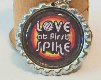 Retro Volleyball Love at First Spike Flattened Bottlecap Pendant Necklace