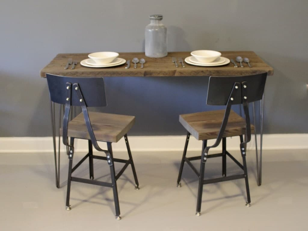 farmhouse wood dining table with hairpin legs by dendroco on etsy
