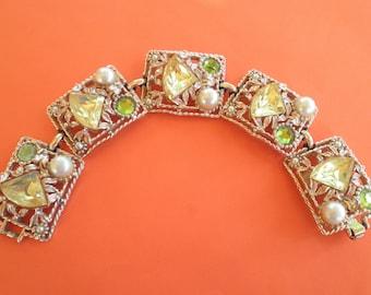 Vintage Filigree Goldtone Green Faux pearl Link Bracelet