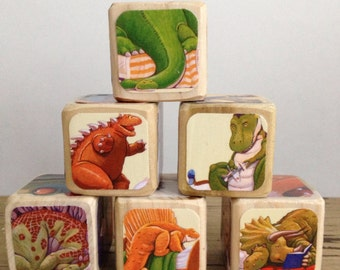How Do Dinosaurs Say Goodnight // Childrens Book Blocks // Natural Wood Toy