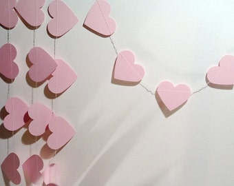 Paper Heart Garland. Baby Pink. Wedding - Engagement - 21st - Sweet 16 - Photo Prop - Baby Shower - Home Decor - Table Decoration.