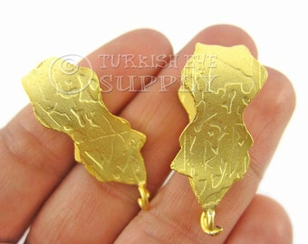 2 pc Gold Plated Large Pendant Bail, 22K Gold Plated Turkish Bohemian Jewelry Bail, Necklace Connector