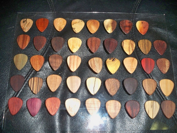 handcrafted wooden guitar pick 39 s over 33 by robinsonwoodpicks. Black Bedroom Furniture Sets. Home Design Ideas