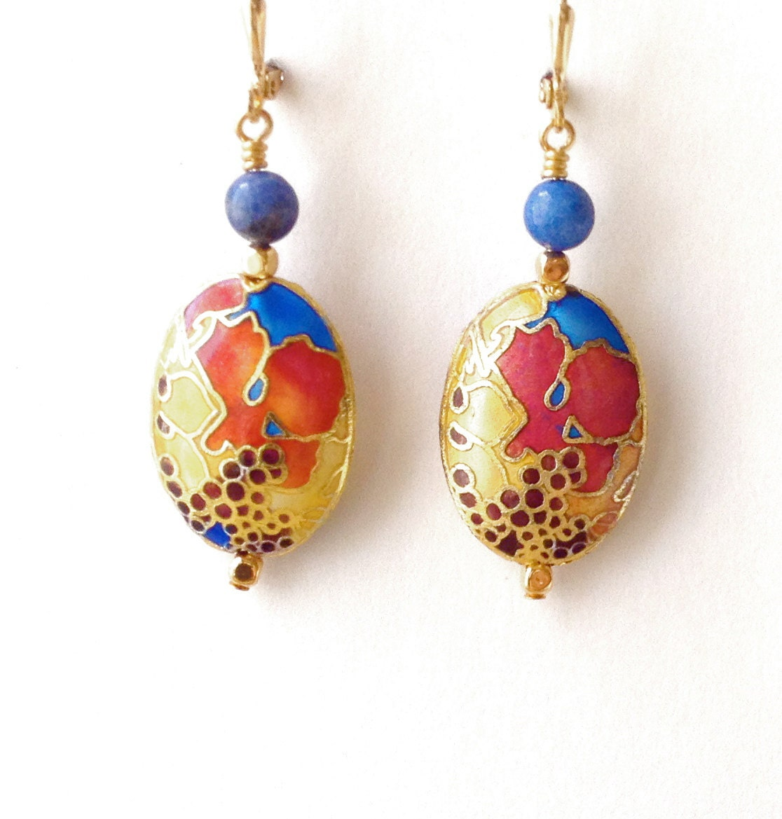 cloisonne earrings made nouveau cloisonne earrings