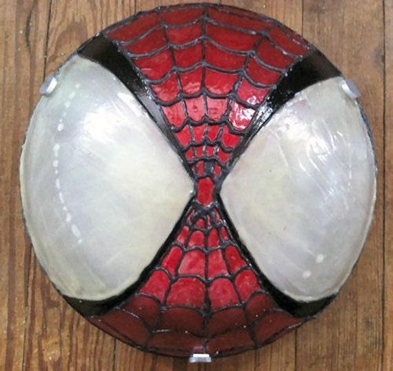 Spider Man Flushmount Ceiling Fan Light Fixture Hand Painted