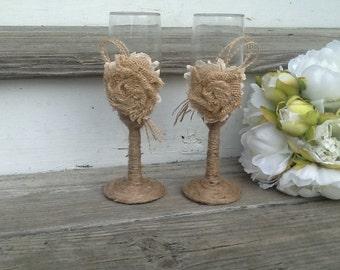 rustic wedding glasses, Mr and Mrs toasting flutes, burlap wedding bride and groom glasses
