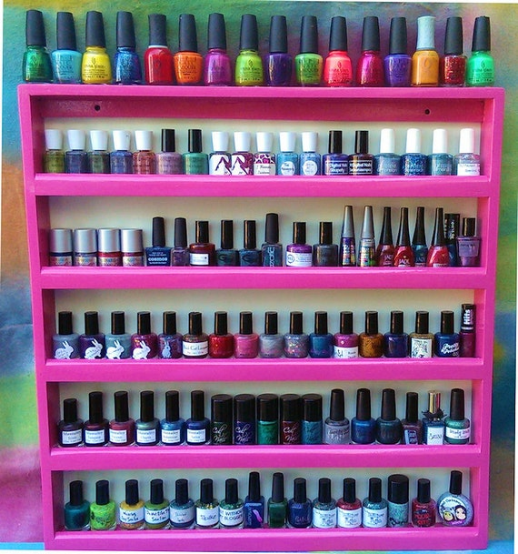 "Nail Polish Holder Storage Rack Display Shelf,  Wood, 20 Colors, Wall Mount, Holds 80 to 95 Polishes.  ""Castaways"""