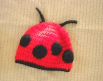 H-064 - Crochet Lady Bug Hat