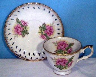 Vintage -Tea Cup & Saucer --Rose Pink Flower Gold--  LATTICE Pie Crust Edge --Hand Painted JAPAN Bone China - UCACGO