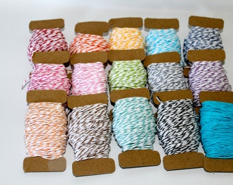20 yard divine bakers twine you pick the color red orange yellow green blue turquoise navy teal purple tan grey black brown pink