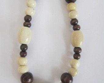 Dark Brown & Cream Wooden Bead Necklace