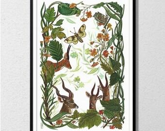 Deers in the glade Watercolor handmade painted.