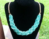 Braided Bead Statment Necklace
