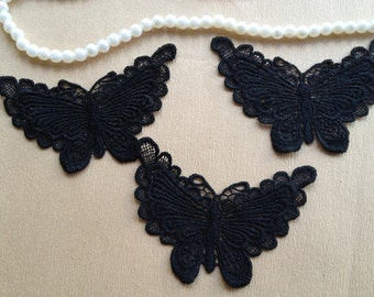 3pcs Black Lace Butterfly Appliques Cute Lace Appliques for Costume Headware Supplies