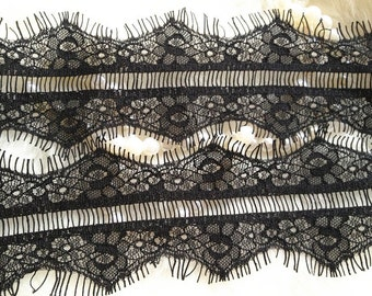 Black Eyelash Lace, Wedding Lace Trim, Bridal Supplies, 3.34 inches wide 3 yards