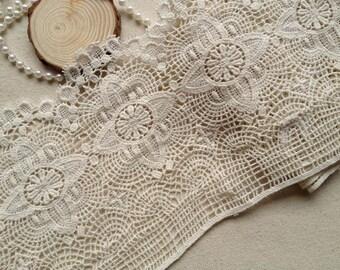Beige Crocheted Antique Lace Ecru Cotton Lace Trim Retro Design Lace 1 Yard