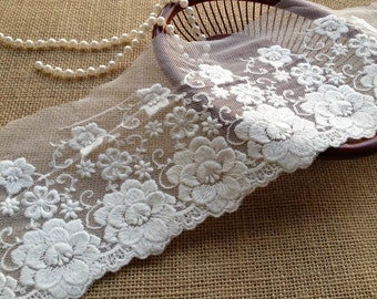 White Tulle Lace Embroidery Cotton Lace Fabric For Wedding Dress, Handbag, Lingerie, Costume design