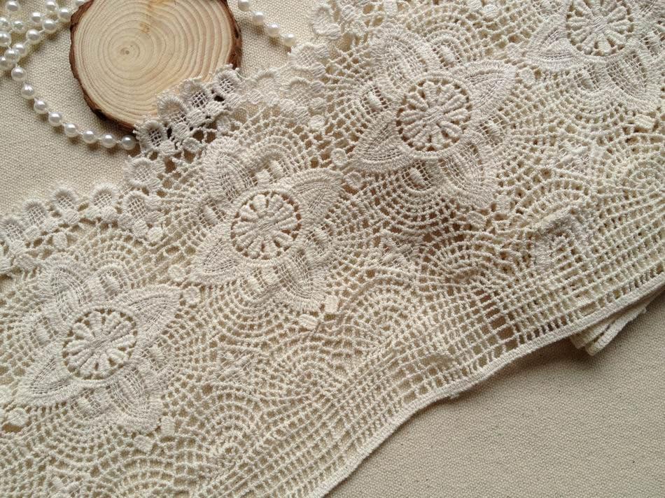 Beige Crocheted Antique Lace Ecru Cotton Lace Trim Retro