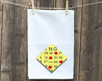 Tea Towels-Kitchen-Hand-Flour Sack-Dish -Customizable Tea Towels-Bingo