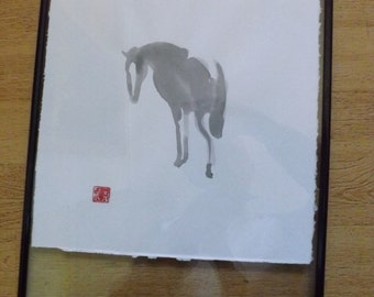 framed horse art.. ink wash
