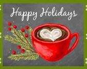 Christmas Chalkboard Holiday Card or Sign Art Illustration Download