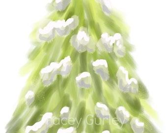 Evergreen Tree with Snow Original Art Download, Instant Download