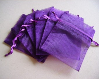 100  3.54''x4.72''  Purple Organza Jewelry Gift Pouch Bags Great For Wedding favors, sachets, beads, jewelry, and more