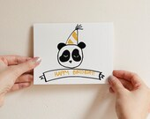 Happy Birthday Panda Card, Screenprint, Illustration, White, Black, Gold, Hand Painted Bamboo Lined Kraft Envelope
