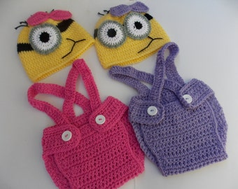 Minion purple or pink crochet outfit-newborn crochet outfit- halloween costume, hat,diaper-Minion Birthday Outfit-newborn Halloween costumes