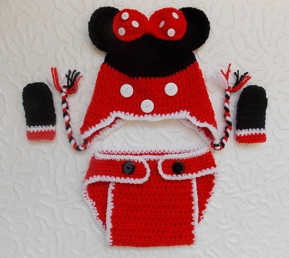 Crochet Pattern For Baby Mermaid Costume : Items similar to Crochet Minnie Mouse outfit-Minnie Mouse ...