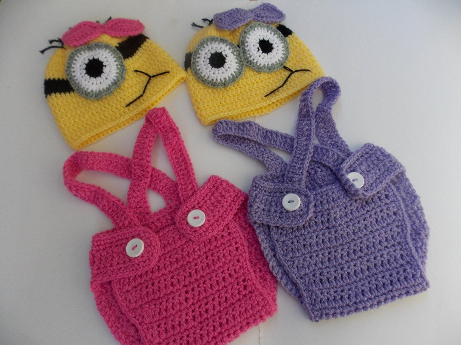 Crochet Patterns For Baby Overalls : Minion purple or pink crochet outfit-newborn by StephanDesign