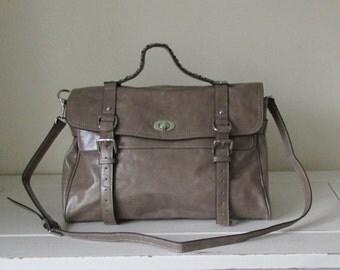 Leather Handbag Grey Leather Satchel Leather Bag Leather Purse IPad Bag Gray Leather Messenger Shoulder Bag Braided Top Handle LAST ONE