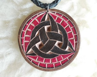 Celtic Triquetra  hand-carved leather pendant - tooled leather jewelry - celtic leather necklace -  black braided leather cord