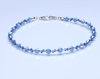 Swarovski Crystal Sapphire Blue and Sapphire Seedbead Bracelet