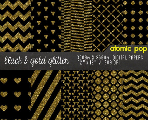 Instant Download // Black Gold Glitter Digital Paper Pack//