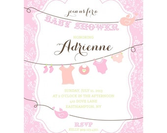 Baby Bird Clothesline Baby Shower - Printable Customized Invitation
