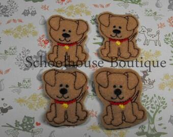 Dog with collar felties, felt paper clip, badge reel, felt brooch, felt bookmark, planner clip, felt hair clip, key chain
