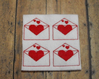Valentine Card Envelope with Hearts felties - feltie - machine embroidered - applique - hair bow center - felt embellishment