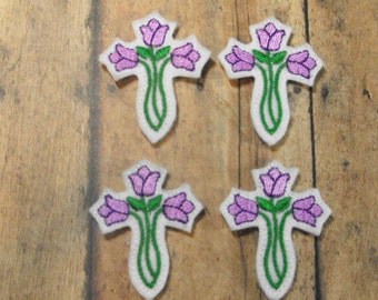 Purple Tulip Cross Easter felties, feltie, machine embroidered, felt applique, hairbow center, felt embellishment, hair bow supplies