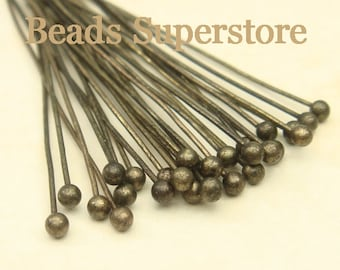 35 mm (1.38 Inch) Antique Brass Ball End Head Pin - Nickel Free and Lead Free - 40 pcs