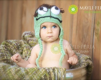 Oscar the Grouch Crochet Hat,  Baby Accessories, Sesame Street, Infant Hat ,toddler
