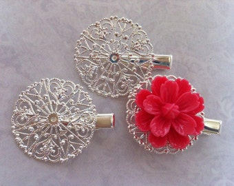 6 pcs Filigree Bobby Pin Blanks,,,Silver Flower Hair Pins ,iron Hair Clip , perfect for resin cabochon.
