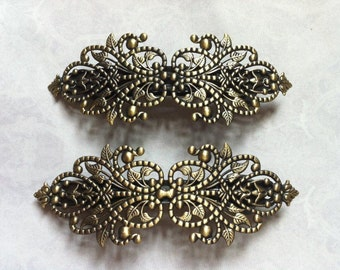 Ship from USA....2 pcs Hair Barretes,,,Antique Bronze Flower Hair Barrettes , perfect for resin cabochon.
