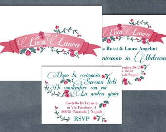 Wedding printable invitation - pink banner