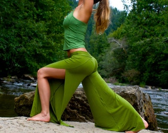 olive green sexy open leg boho beach resort yoga lounge casual dance festival wrap pants