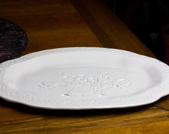 Large white serving tray