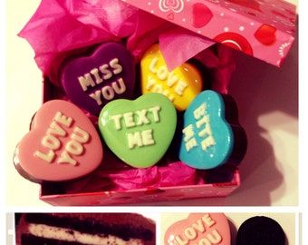 Valentines Day Conversation Hearts Chocolate Covered Oreos