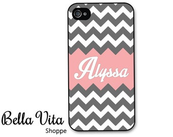 Monogrammed iPhone 4 Case -  Grey Chevron with Pink Name Monogram iPhone 4s Case, iPhone 4 Cover I4C