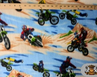 """Fleece Printed MOTOCROSS BLUE BROWN Fabric / 58"""" Wide / Sold by the yard"""
