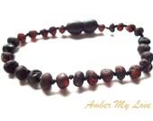 Maximum Effective Raw Unpolished Baltic Amber Baby Teething Bracelet.  Dark Cherry Color.